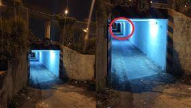 發藍光的涵洞。(圖/翻攝自PTT)