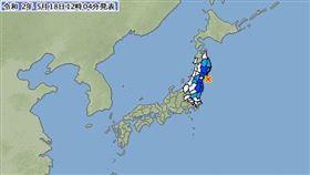 日本東北外海規模5.2淺層地震 無海嘯威脅(圖/翻攝自日本氣象廳)