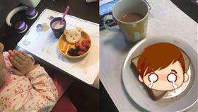 爸爸,女兒,早餐,比較,吐司,人妻