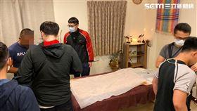 台北市萬華分局查獲男同志按摩半套店。(圖/翻攝畫面)