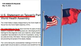 美國、台灣首度同步發布聲明,指責WHO未納入台灣。(圖/翻攝自美國衛生部。)