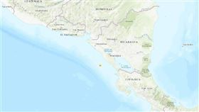 尼加拉瓜沿岸19日發生規模5.1地震,震央為星號處。(圖取自美國地質調查所網頁usgs.gov)