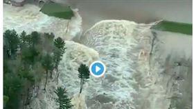 美國密西根州20日兩座水壩潰決,淹沒密州中部城鎮米德蘭部分地區,上萬居民撤離。(twitter)
