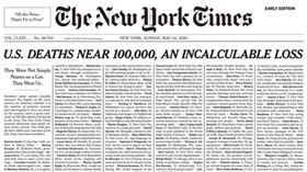 沒有盡頭的死亡名單…《紐時》頭版刊1000位死者哀悼▲。(圖/翻攝自紐約時報推特)
