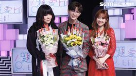 炎亞綸、唐綺陽、吳姍儒(Sandy)主持新節目《36題愛上你》(記者林聖凱攝影)
