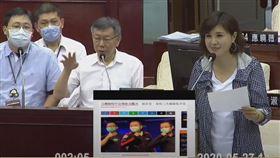 國民黨台北市議員王欣儀質詢台北市長柯文哲(圖/翻攝柯文哲YouTube)