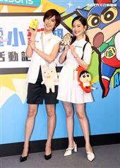 曾之喬與陳庭妮出席「屈臣氏蠟筆小新集點活動記者會」。(記者邱榮吉/攝影)