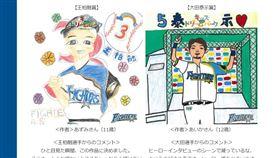 日本小球迷畫王柏融得獎。(圖/翻攝自火腿官網)