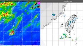 ▲圖:今(31日)晨4時紅外線色調強化雲圖顯示,台灣附近雲層稀疏(左圖);雷達回波合成圖則顯示,陸上無明顯回波(右圖)。