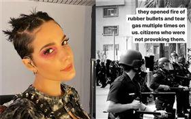 25歲美國女歌手海爾希(Halsey)聲援美警殺黑人,驚爆「遭橡膠子彈射擊」。(圖/翻攝自IG)