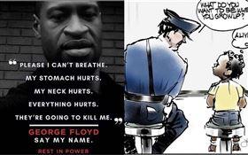 奧斯卡影帝傑米福克斯(Jamie Foxx)在IG貼出一張「白人警察與非裔小孩對話」漫畫。(圖/翻攝自IG)