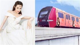 迪麗熱巴被粉絲做成了北京機場線列車。(圖/翻攝自迪麗熱巴後援會微博)