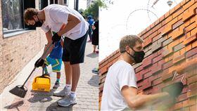 刷油漆、掃垃圾 傳奇德佬幫恢復市容 NBA,達拉斯獨行俠,Dirk Nowitzki,George Floyd 翻攝自獨行俠官方推特