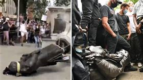 英國布里斯托有部分示威者拆除17世紀奴隸貿易商科斯頓的雕像,並將雕像扔入河中。(圖/翻攝自The Telegraph Youtube頻道)