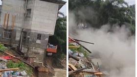 ▲廣西柳州融水縣洪水氾濫,一棟三層樓房倒塌。(圖/翻攝自推特)