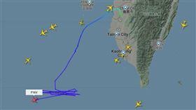 航空器網站flightradar24發現我1架F-16V戰機升空,圖/翻攝flightradar24網站
