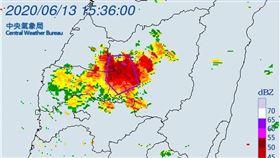氣象局針對3縣市發布大雷雨即時訊息。(圖/翻攝自氣象局)