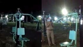 網瘋傳公園內器材…深夜自己動了起來!當地警方解釋了…。(圖/翻攝自推特、臉書)