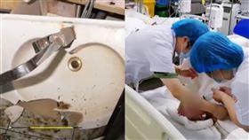 熱水器突然爆炸!爸媽幫17個月嬰兒洗澡 3人全身95%嚴重燙傷(圖/翻攝自梨視頻)