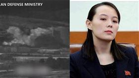 金與正、開城、兩韓、北韓、炸毀。(組圖/AP授權、翻攝推特)