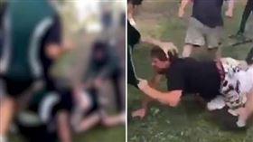 挺身護兒反霸凌 父遭6學生痛毆倒地 澳洲,高中,霸凌,圍毆,Park Ridge 翻攝自推特