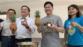 林佳龍今天到台東體驗深度旅遊,製作鳳梨醬。(圖/記者陳宜加攝影)
