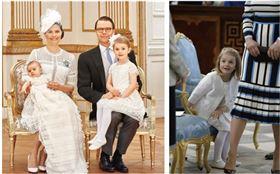 瑞典小公主Estelle穿著精緻的Charabia白色花瓣洋裝。(圖/CHARABIA PARIS提供)