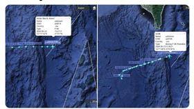 美國海軍2架P-8A海神式偵察機在巴士海峽及海南島間來回偵察。(圖/翻攝自Twitter/SCS Probing Initiative)