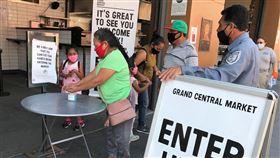 美國重啟經濟 商家重視防疫美國疫情未解,商家為了重啟經濟,採取限制人數、進場前先消毒雙手的防疫措施。圖為洛杉磯市旅遊景點,小吃攤位聚集的中央市場(Grand Central Market)。中央社記者林宏翰洛杉磯攝 109年6月27日