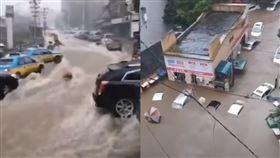 三峽大壩下遊第一城,湖北宜昌市全淹。(組圖/翻攝自推特)