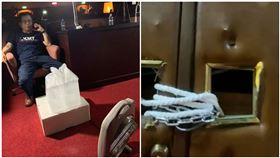 鐵鍊纏大門!賴士葆2分鐘直播立院現況:很缺電風扇、冰塊(圖/翻攝自臉書)
