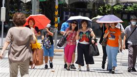 氣象局發布高溫資訊 民眾撐傘遮陽受到太平洋高壓及西南風沉降影響,中央氣象局28日針對台北市等10縣市發布高溫資訊,有出現攝氏36度高溫機率;民眾外出時撐傘遮陽。中央社記者徐肇昌攝 109年6月28日