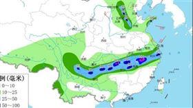 中國降雨預報(圖/翻攝自中國中央氣象台)