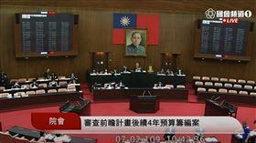 立院表決通過同意行政院籌編前瞻計畫後續4年預算(圖/翻攝國會頻道)