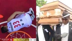 中國玩法?球員受傷竟播「黑人抬棺」 CBA,受傷,黑人抬棺,葬禮,翟逸 翻攝自微博