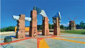 ▲大甲鐵砧山雕塑公園的太陽之門廣場,是台中海線觀光亮點。(圖/台中市政府新聞局提供)