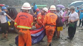玉石礦場,緬甸,意外,大雨,圖/Myanmar Fire Services Department
