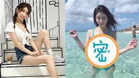亞里沙於沖繩海岸邊穿著Tiffany藍比基尼戲水。(圖/翻攝自亞里沙IG)