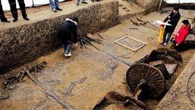 ▲戰國古墓挖掘。(圖/翻攝自微博)