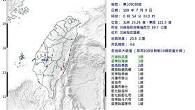 凌晨搖一下!花蓮規模4.6地震 最大震度3級 圖翻攝自中央氣象局
