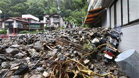 日本九州暴雨成災。(圖/美聯社/達志影像)