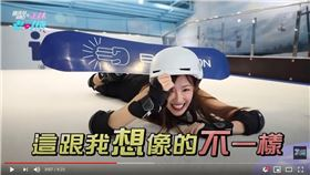 ▲樂天女孩菲菲挑戰單板滑雪。(圖/翻攝自正妹老司機YT)