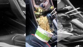 車,翻倒,食物,用餐,麵,爆廢