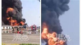中國,山東,油罐車,爆炸,意外,衣服(圖/翻攝自沸點視頻)