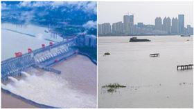 三峽大壩,長江武漢段(圖/翻攝自人民日報微博、新華視點微博)