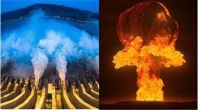 (左)三峽大壩,翻攝自新華社,(右)核武爆炸,翻攝自needpix.com