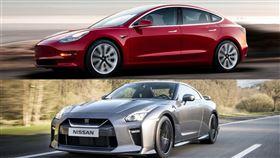 ▲Tesla Model 3、Nissan GT-R(圖/翻攝自Tesla、Nissan官網)
