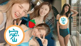 熊熊與一票姐妹們去台中水立方學習美人魚潛水。(圖/翻攝自林真亦IG)