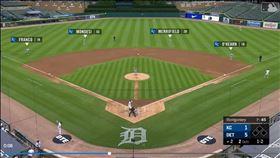 ▲老虎卡布瑞拉(Miguel Cabrera)打擊,皇家內野手都站在外野草皮。(圖/翻攝自MLB官網)