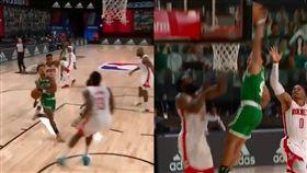 NBA/狂!矮個菜鳥飛扣哈登+威少 NBA,休士頓火箭,James Harden,Russell Westbrook,Carsen Edwards 翻攝自推特